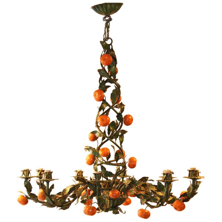 """Whimsical Painted Tole """"Orange"""" Chandelier At 1stdibs"""