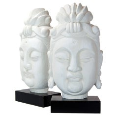 Pair of Large Cast Plaster Buddha Heads