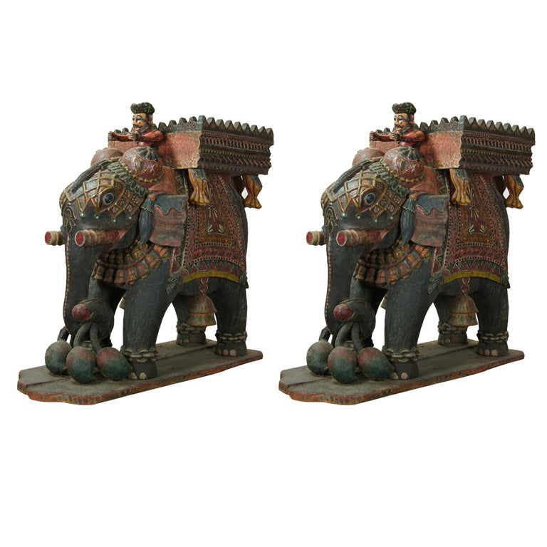 Monumental Pair of Carved Wood Indian Elephant Planters ...