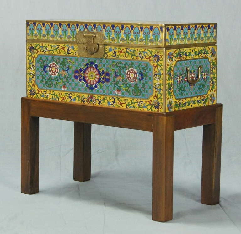 Chinese cloisonn box on stand at 1stdibs for Cloison stand