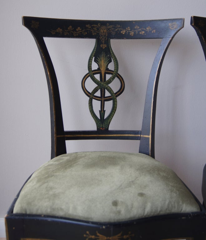 Dining Room Set With Bench Seating Painted Tongue And: Set Of Six Painted Dining Chairs At 1stdibs