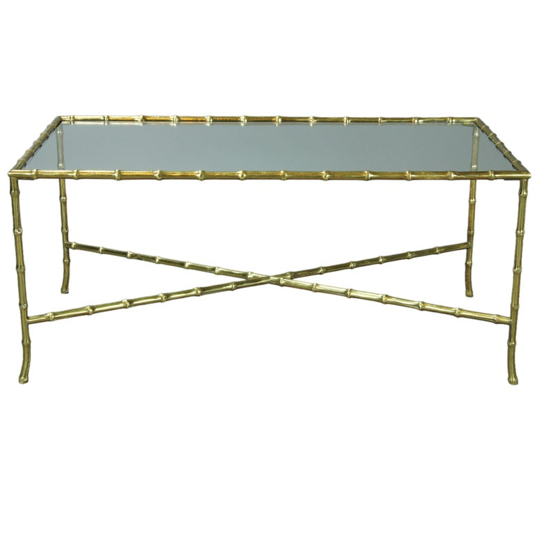Rectangular Bagues Style Faux Bamboo Brass Cocktail Table