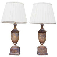 Pair of Neoclassical Style Marble Urn Lamps