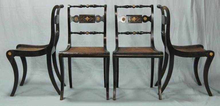 British Set of Four English Regency Dining Chairs For Sale - Set Of Four English Regency Dining Chairs At 1stdibs