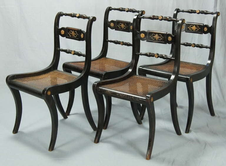 Set of four english regency dining chairs at 1stdibs for Regency furniture living room sets