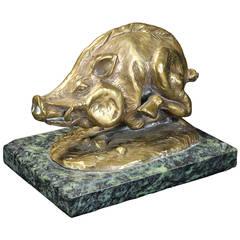 Cast Bronze Razorback Sculpture
