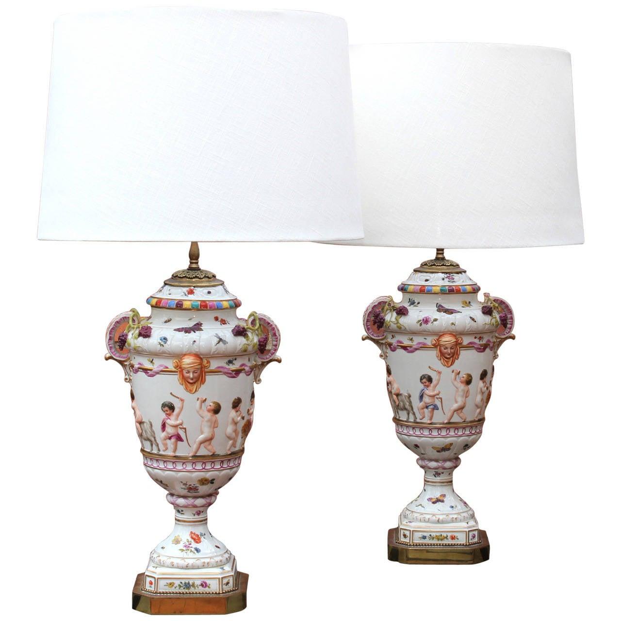 Large Pair of Italian Capo Di Monte Table Lamps