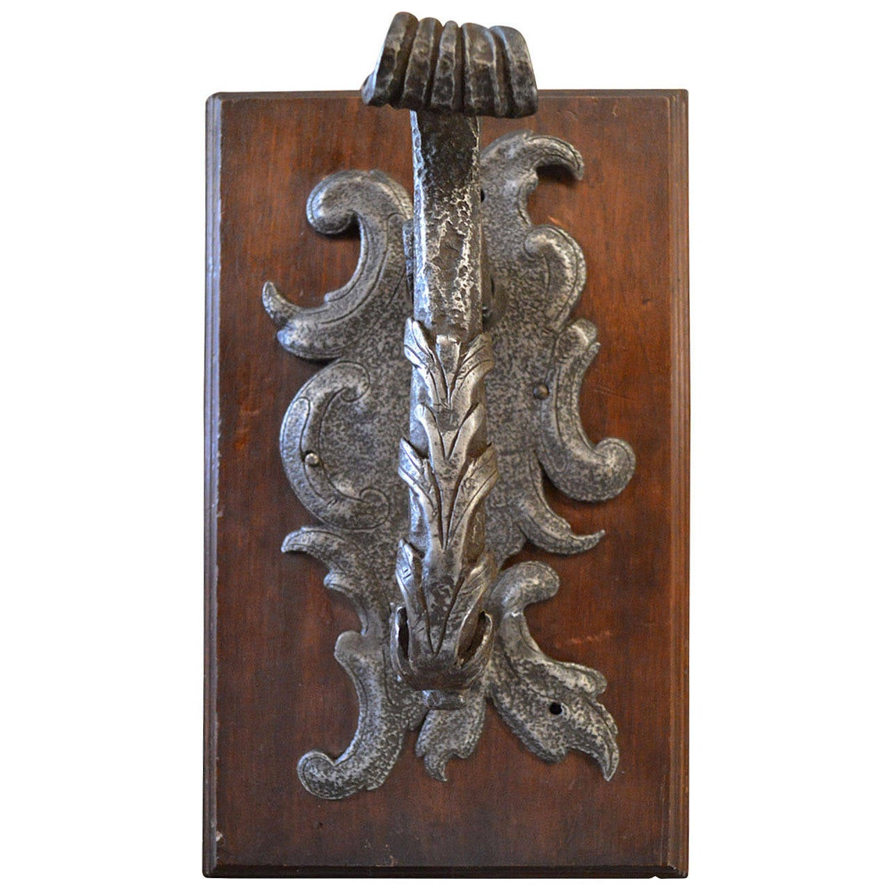 Very Rare French Rococo Hand Wrought Iron Door Knocker At