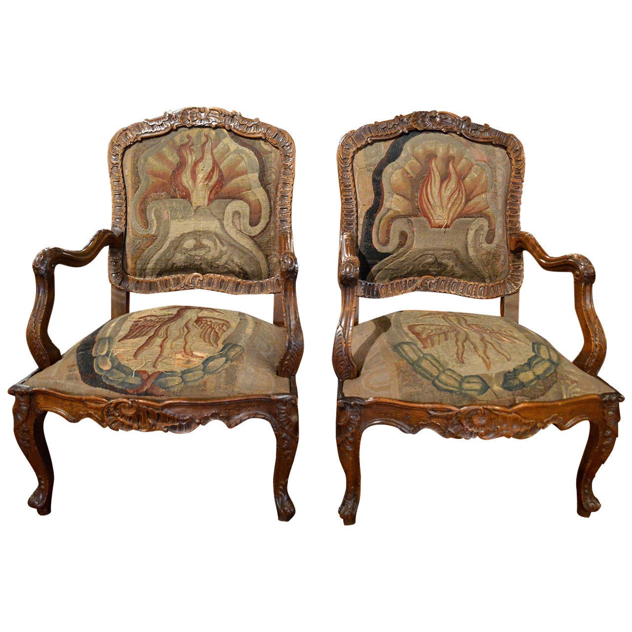 Pair of finely carved walnut louis xv style rococo fauteuil a la reine at 1st - Fauteuil style louis xv ...