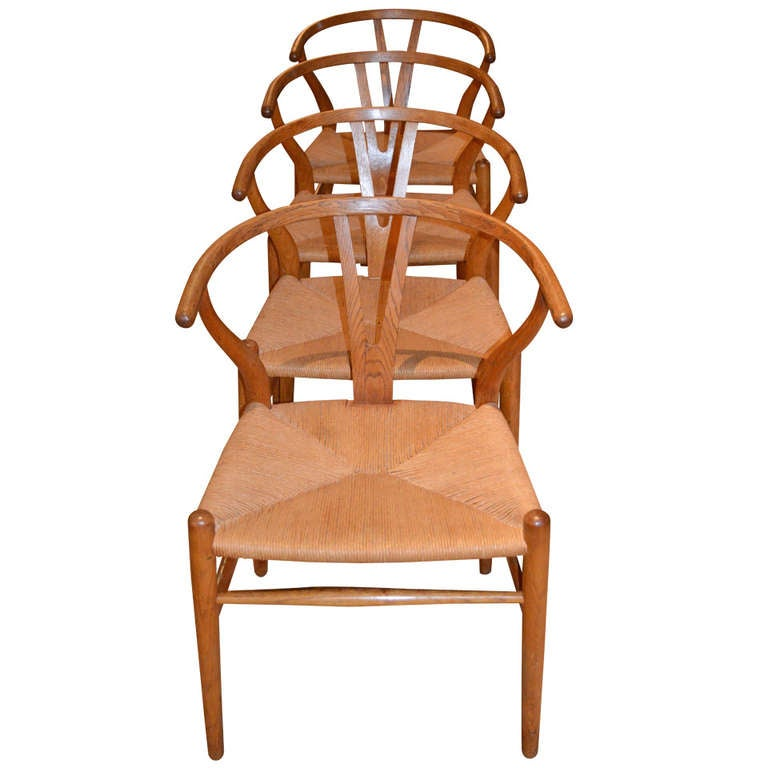 Set of 4 Hans Wegner Wishbone Chairs at 1stdibs