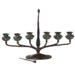 "Tiffany Studios ""Jeweled Six Branch"" Candelabrum"