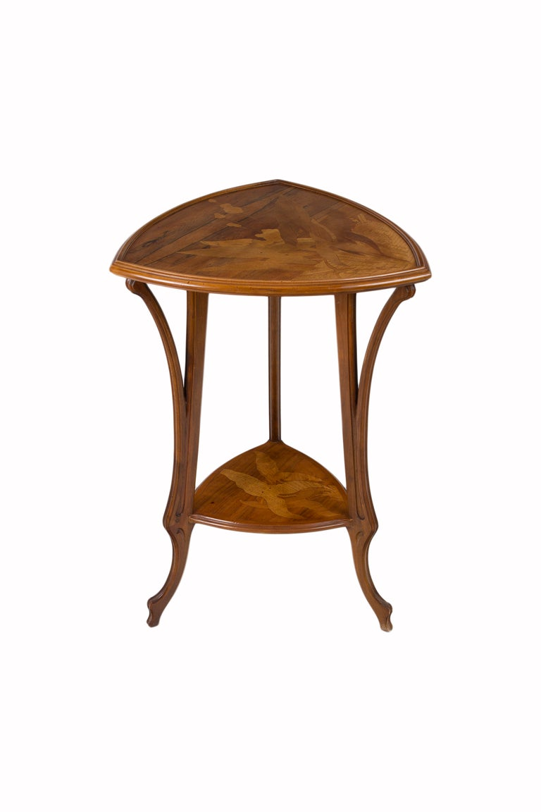 Carved French Art Nouveau Side Table by, Emile Gallé For Sale