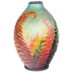 "French Art Nouveau Enameled Glass ""Fern"" Vase by Camille Fauré"