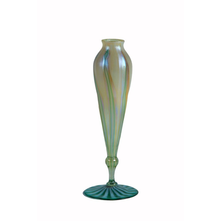 Tiffany favrile pulled feather flower form vase at stdibs