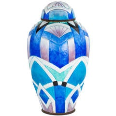 """Art Deco Enameled """"Geometric"""" Covered Jar by Camille Fauré"""
