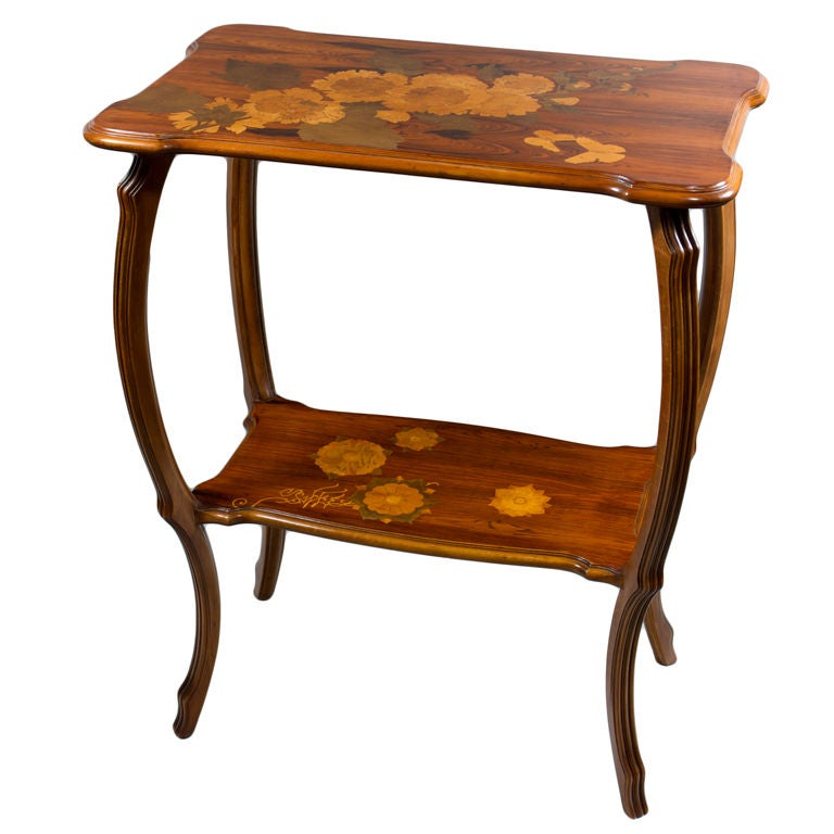 An Art Nouveau Marquetry Two   Tiered Table By, Emile Gallé 1