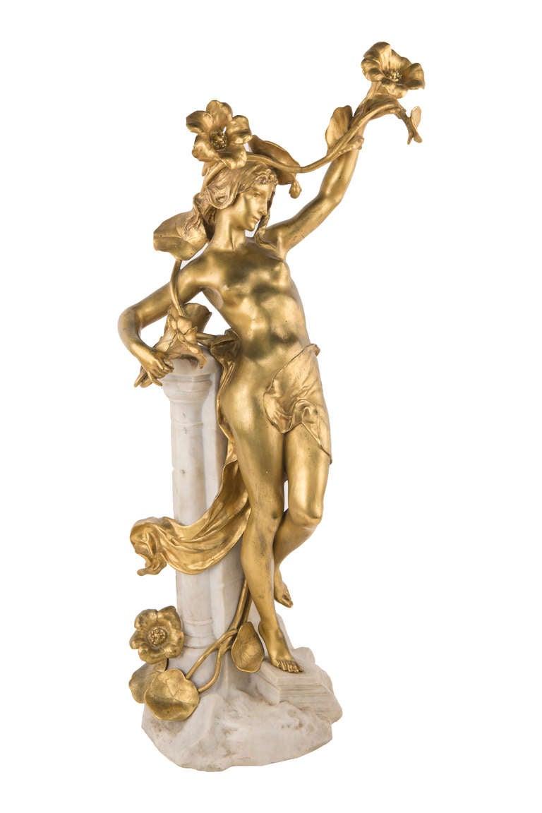 Carved A French Art Nouveau Sculpture by, Jean-Baptiste Germain