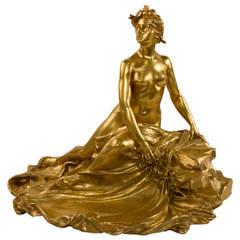 French Art Nouveau Gilt-Bronze Sculptural Inkwell by François-Raoul Larche
