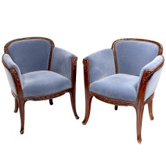 "French Art Nouveau ""Aubépines"" Arm Chairs by, Louis Majorelle"