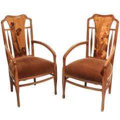 French Art Nouveau Arm Chairs by, Louis Majorelle