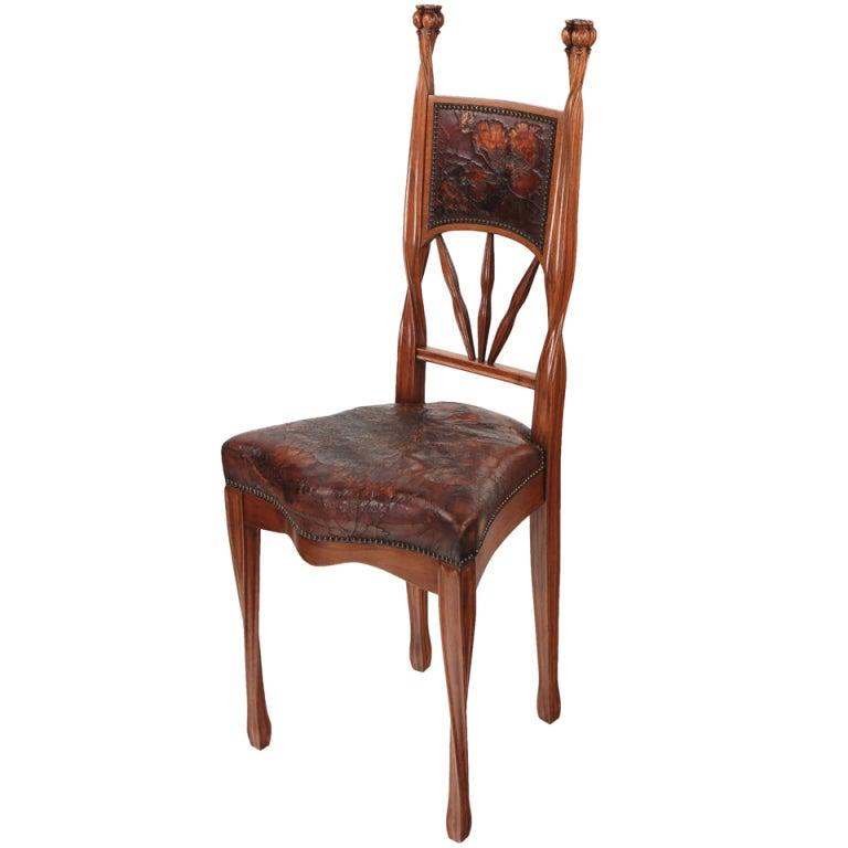 a french art nouveau poppy side chair by louis majorelle
