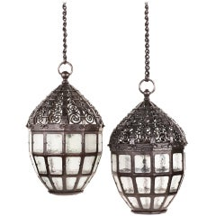 Pair of Art Nouveau Wrought Iron Chandeliers by Carl Westman