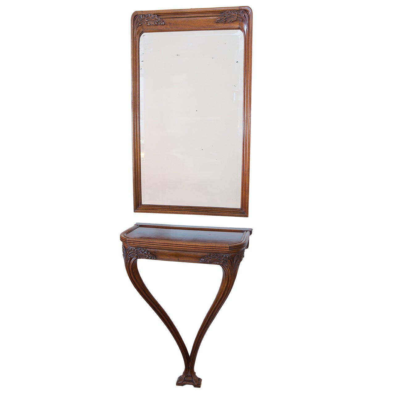 art nouveau console and mirror by louis majorelle at 1stdibs. Black Bedroom Furniture Sets. Home Design Ideas
