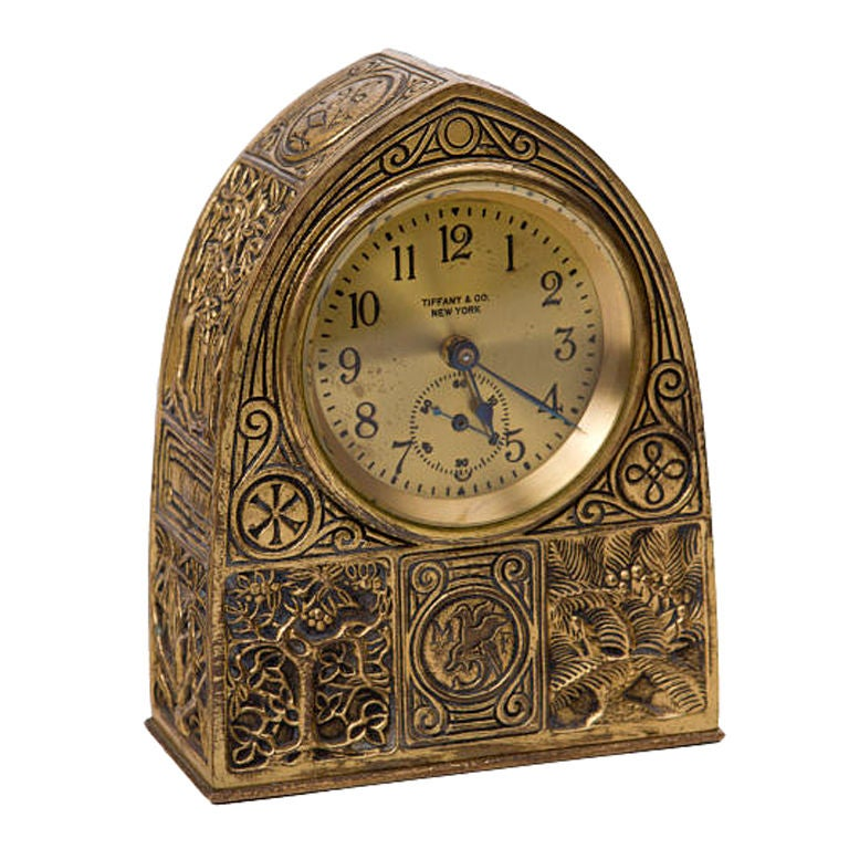Tiffany Studios Bookmark Pattern Desk Clock