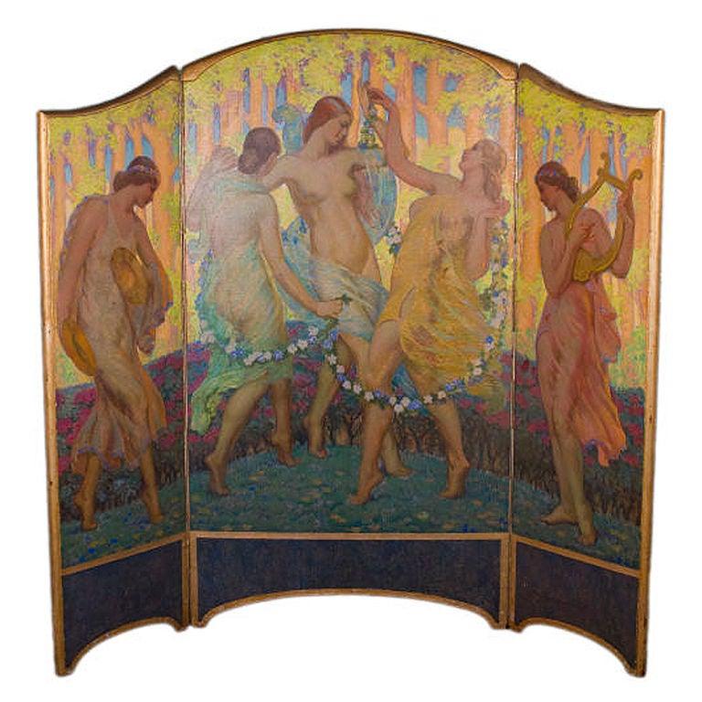 Art Nouveau Painted Screen by, Daniel McMorris For Sale