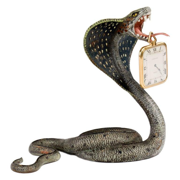 Vienna Bronze Cobra Pocket Watch Holder by, Franz Bergman For Sale