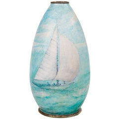 """Enameled Over Copper """"Sailboat"""" Vase by Camille Fauré"""