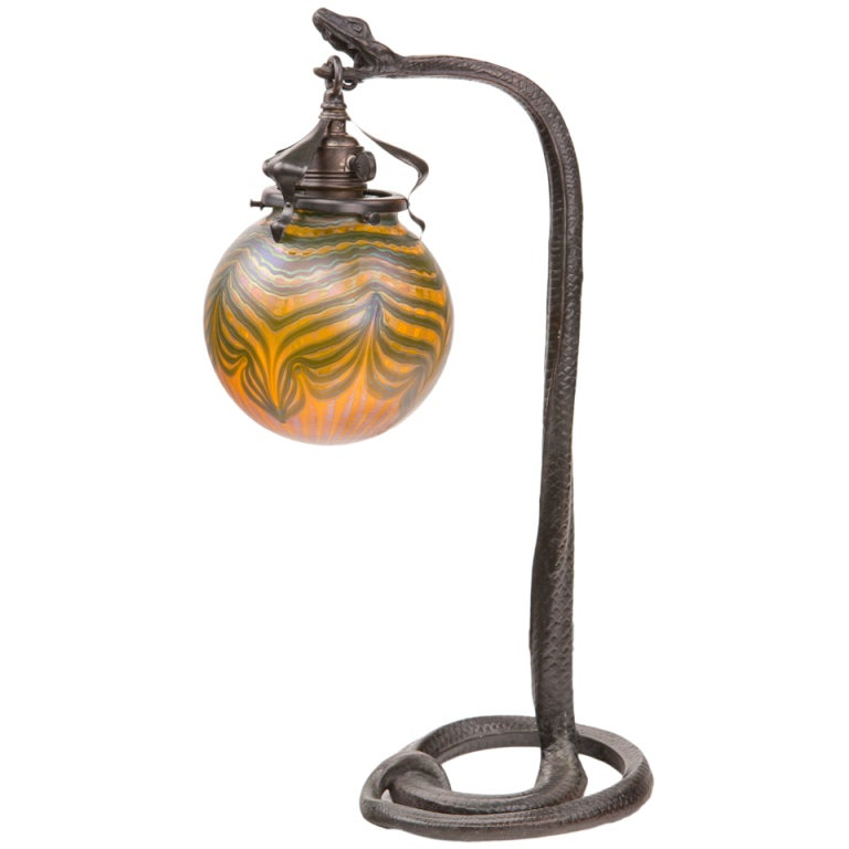 Austrian Art Nouveau Snake Table Lamp At 1stdibs