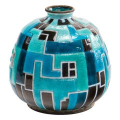 Blue Geometric Vase by, Camille Faure