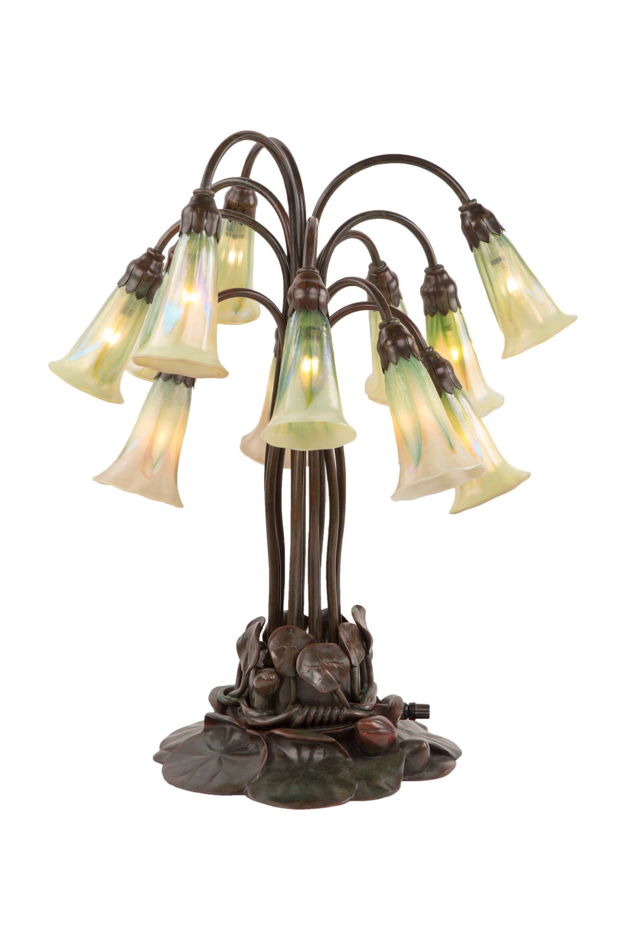 An exceptional and rare American Art Nouveau patinated bronze and glass