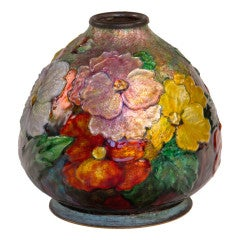 Enameled All Over Floral Vase by, Camille Faure