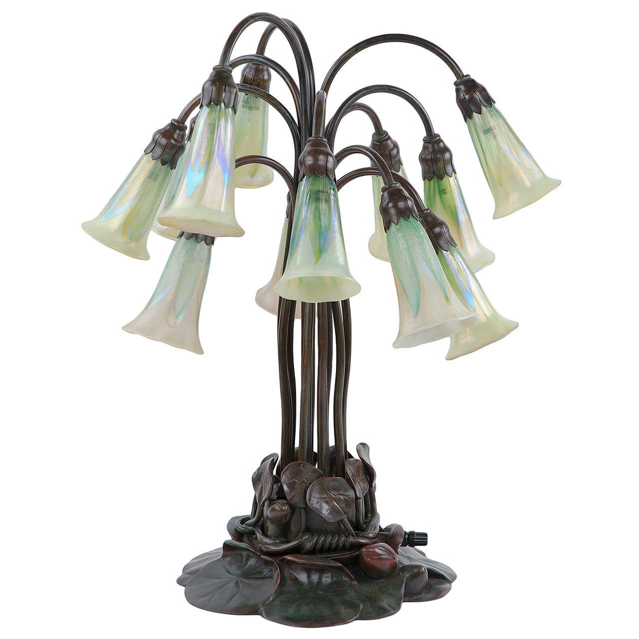 Tiffany Studios Bronze and Favrile 12-Light Lily Table Lamp For Sale