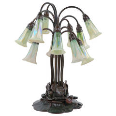 Tiffany Studios Bronze and Favrile 12-Light Lily Table Lamp