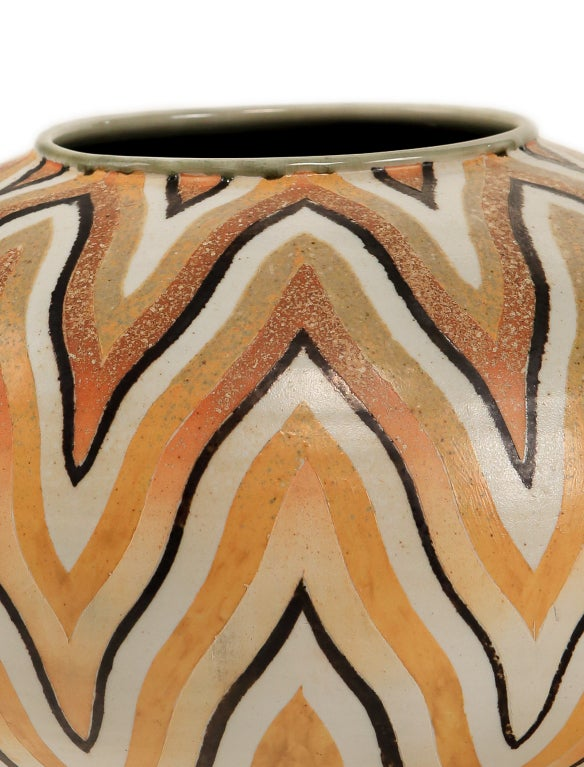 An Art Deco Style Ceramic Decorative Vase by, Douglas Breitbart 3