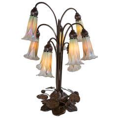 """American Art Nouveau """"Lily"""" Table Lamp by Quezal"""