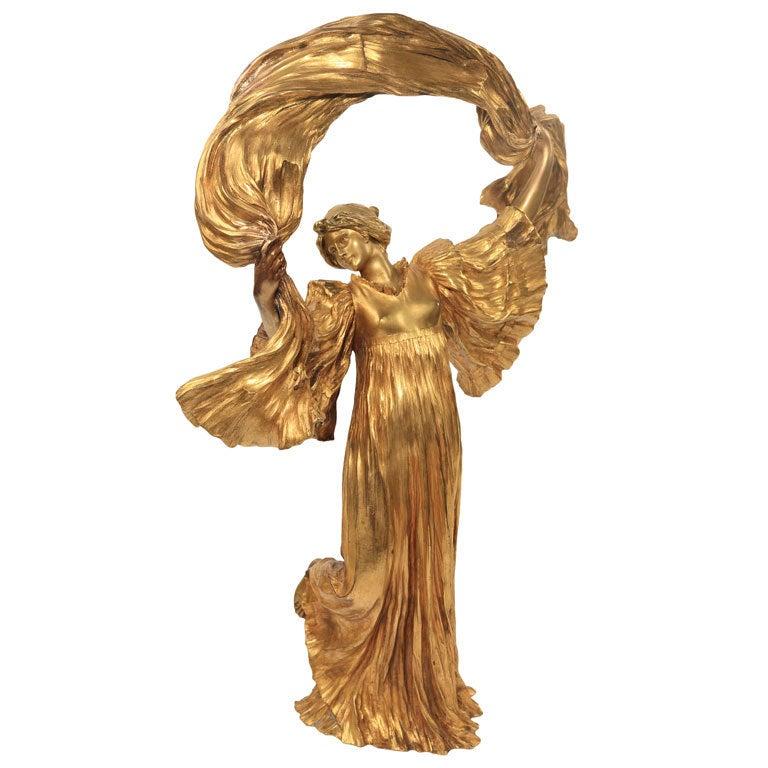 Art Nouveau Sculpture Le Jeu De LEcharpe By Agathon