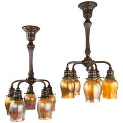 Pair of Art Nouveau Chandeliers by Tiffany Studios