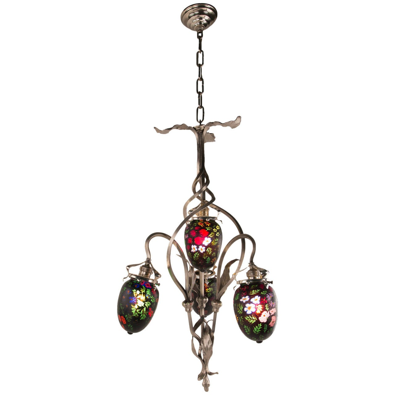 Art Nouveau Chandelier with Fratelli & Toso Glass Shades