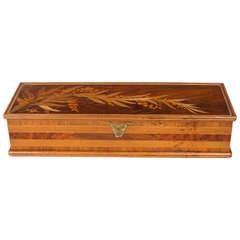 An Art Nouveau Box with Marquetry Decoration by Emile Gallé