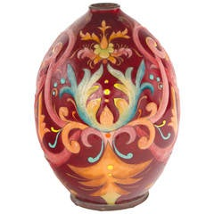 Art Deco Enameled Glass Vase by Camille Fauré