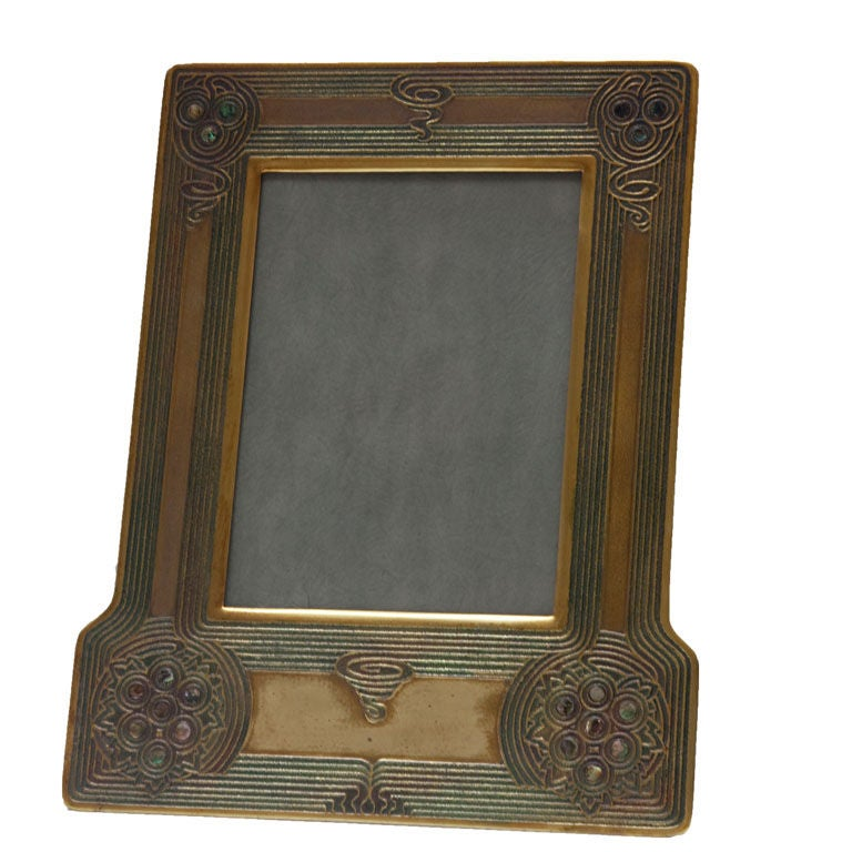 art nouveau tiffany studios abalone pattern picture frame for sale at 1stdibs. Black Bedroom Furniture Sets. Home Design Ideas