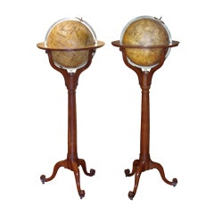 A Pair of Tall Georgian Library Globes