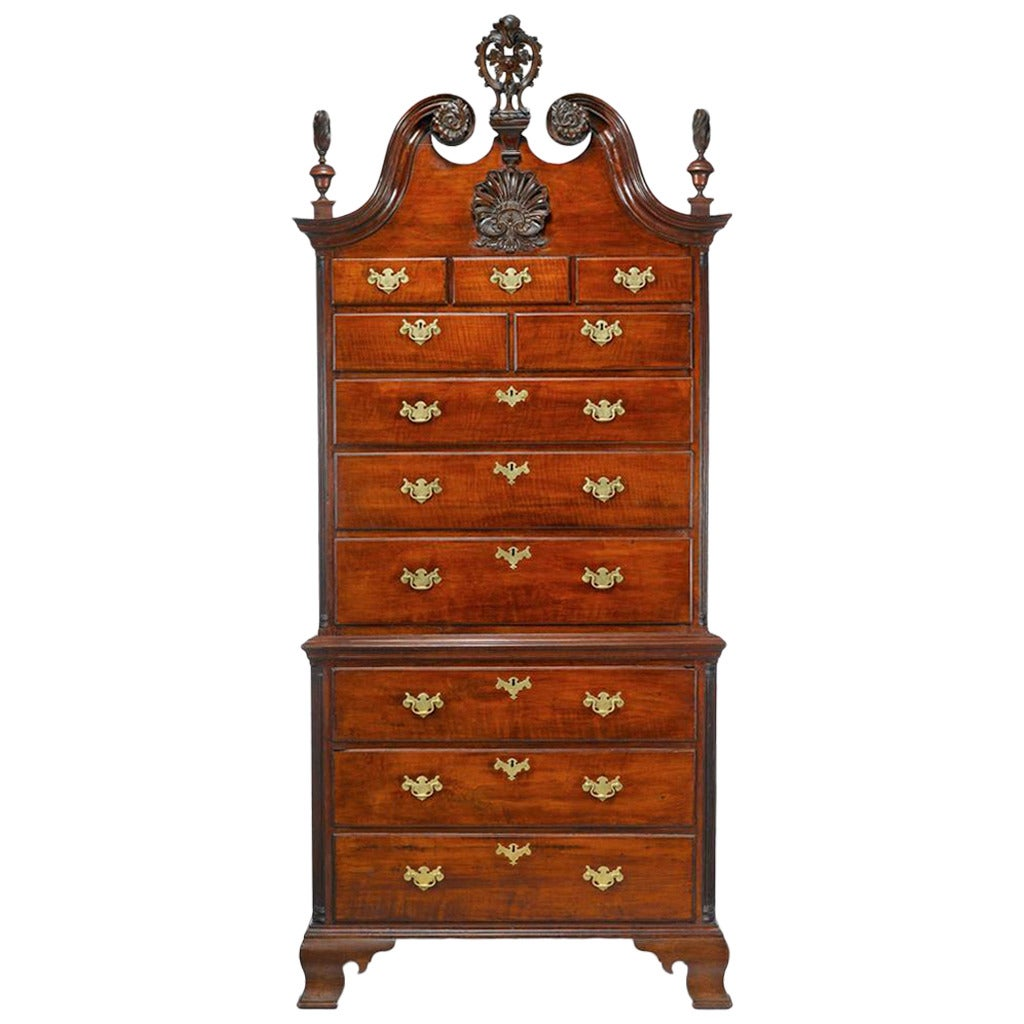 Fine Chippendale Carved Mahogany Chest On Chest At 1stdibs
