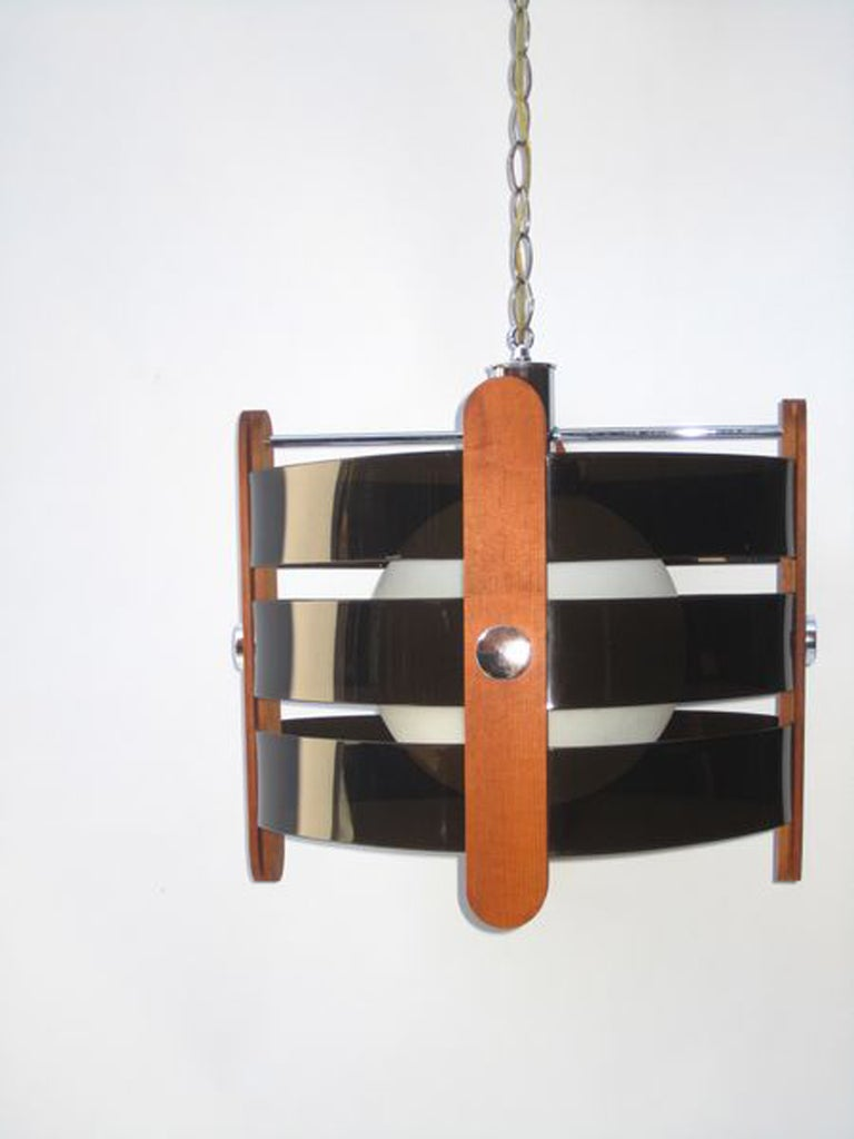 Mid Century Chandelier In Walnut With Smoke Colored Rings