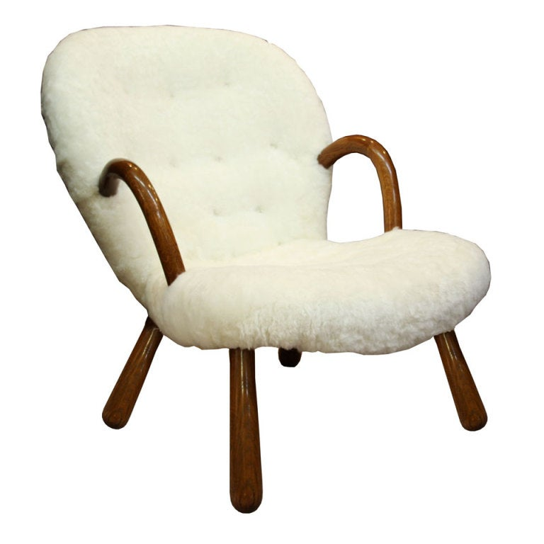 Mid Century Armchair In Button Tufted Sheepskin By Martin