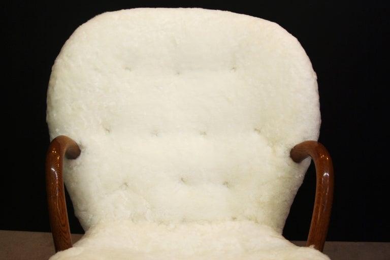 Mid Century Armchair in Button Tufted Sheepskin by Martin Olsen 9